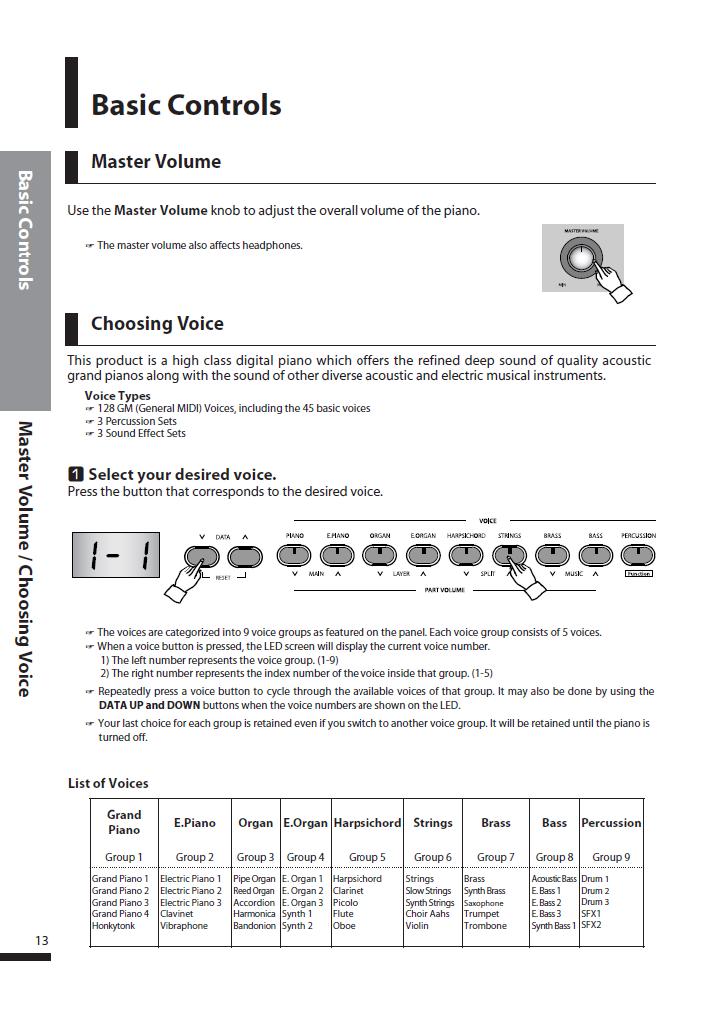 دفترچه راهنمای پیانو دیجیتال دایناتون مدل DPS-80H صفحه 13