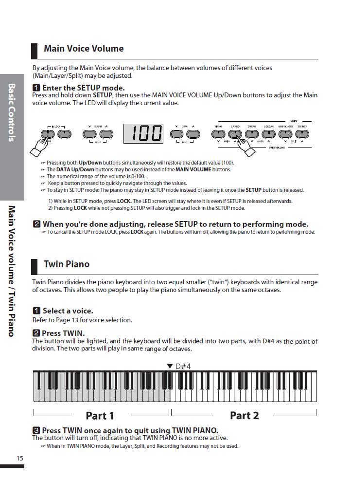 دفترچه راهنمای پیانو دیجیتال دایناتون مدل DPS-80H صفحه 15