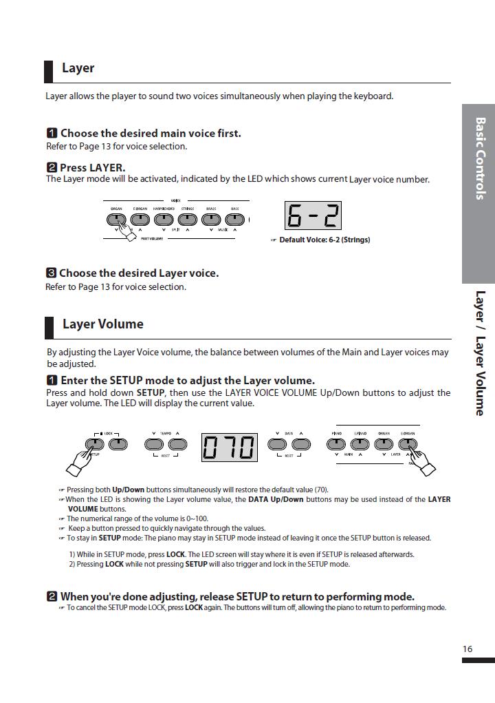 دفترچه راهنمای پیانو دیجیتال دایناتون مدل DPS-80H صفحه 16