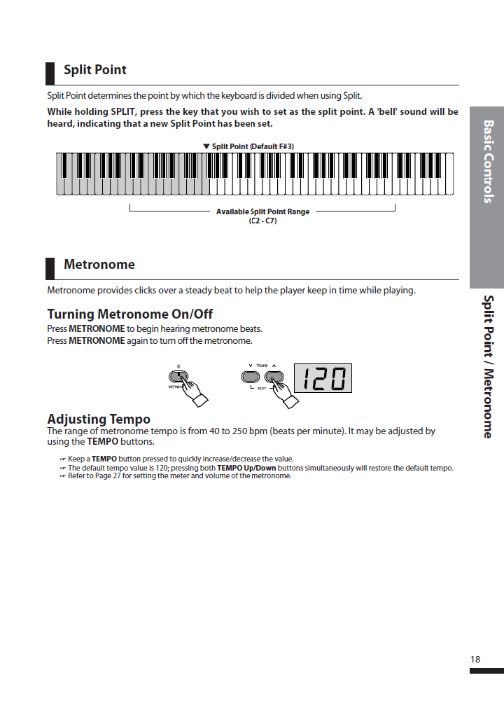 دفترچه راهنمای پیانو دیجیتال دایناتون مدل DPS-80H صفحه 18