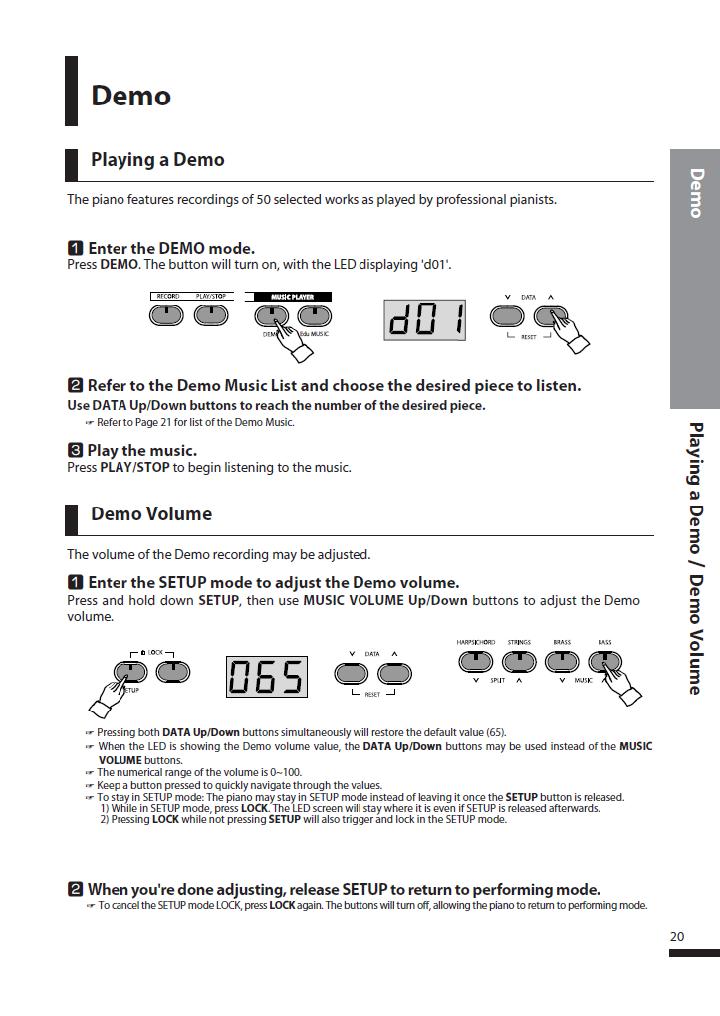 دفترچه راهنمای پیانو دیجیتال دایناتون مدل DPS-80H صفحه 20