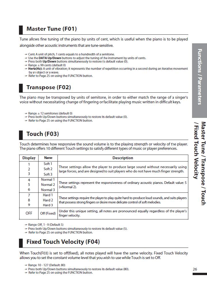 دفترچه راهنمای پیانو دیجیتال دایناتون مدل DPS-80H صفحه 26