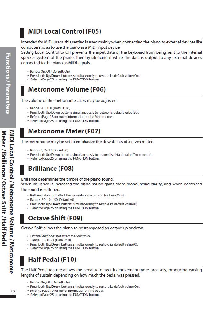 دفترچه راهنمای پیانو دیجیتال دایناتون مدل DPS-80H صفحه 27