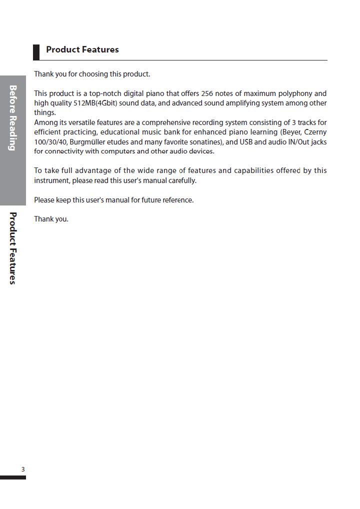 دفترچه راهنمای پیانو دیجیتال دایناتون مدل DPS-80H صفحه 03