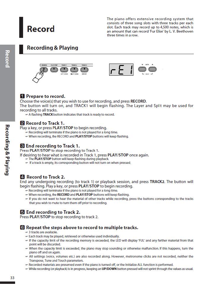 دفترچه راهنمای پیانو دیجیتال دایناتون مدل DPS-80H صفحه 33