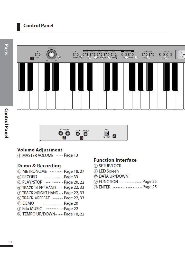 دفترچه راهنمای پیانو دیجیتال دایناتون مدل DPS-90H صفحه 11