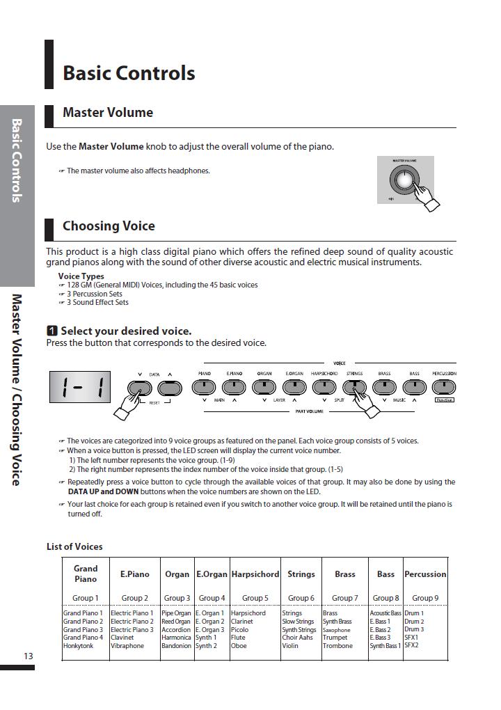 دفترچه راهنمای پیانو دیجیتال دایناتون مدل DPS-90H صفحه 13