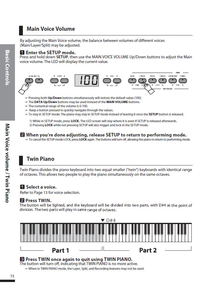 دفترچه راهنمای پیانو دیجیتال دایناتون مدل DPS-90H صفحه 15