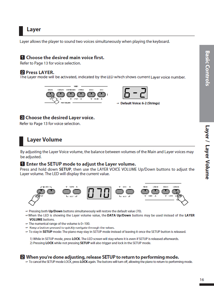 دفترچه راهنمای پیانو دیجیتال دایناتون مدل DPS-90H صفحه 16
