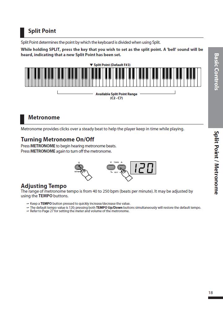 دفترچه راهنمای پیانو دیجیتال دایناتون مدل DPS-90H صفحه 18