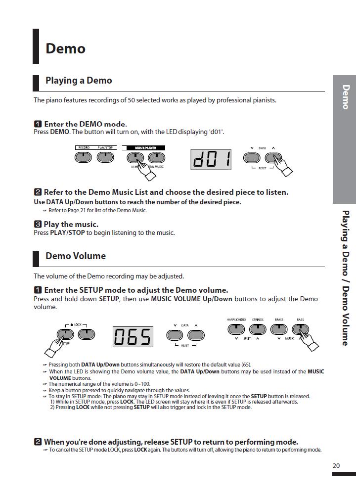 دفترچه راهنمای پیانو دیجیتال دایناتون مدل DPS-90H صفحه 20