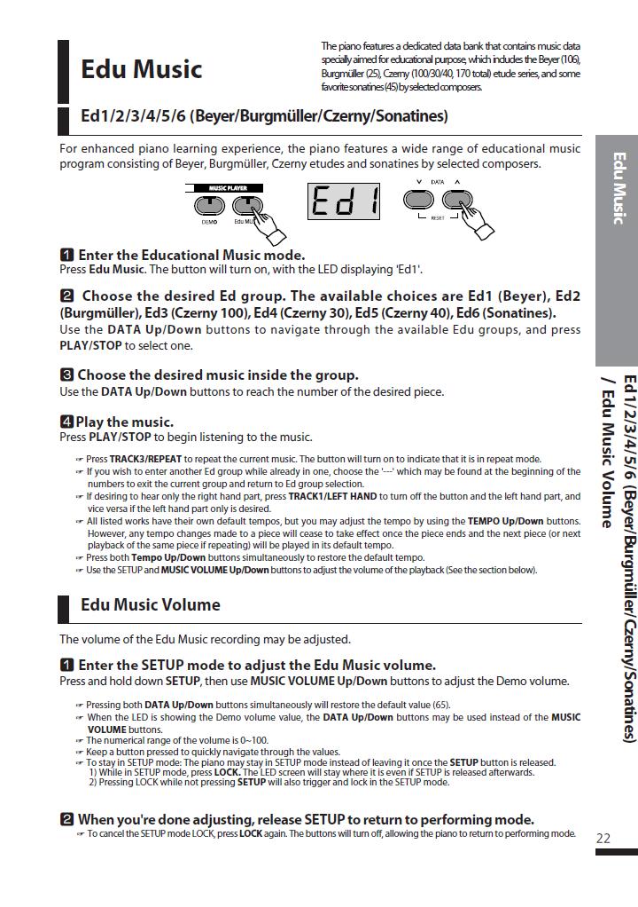 دفترچه راهنمای پیانو دیجیتال دایناتون مدل DPS-90H صفحه 22