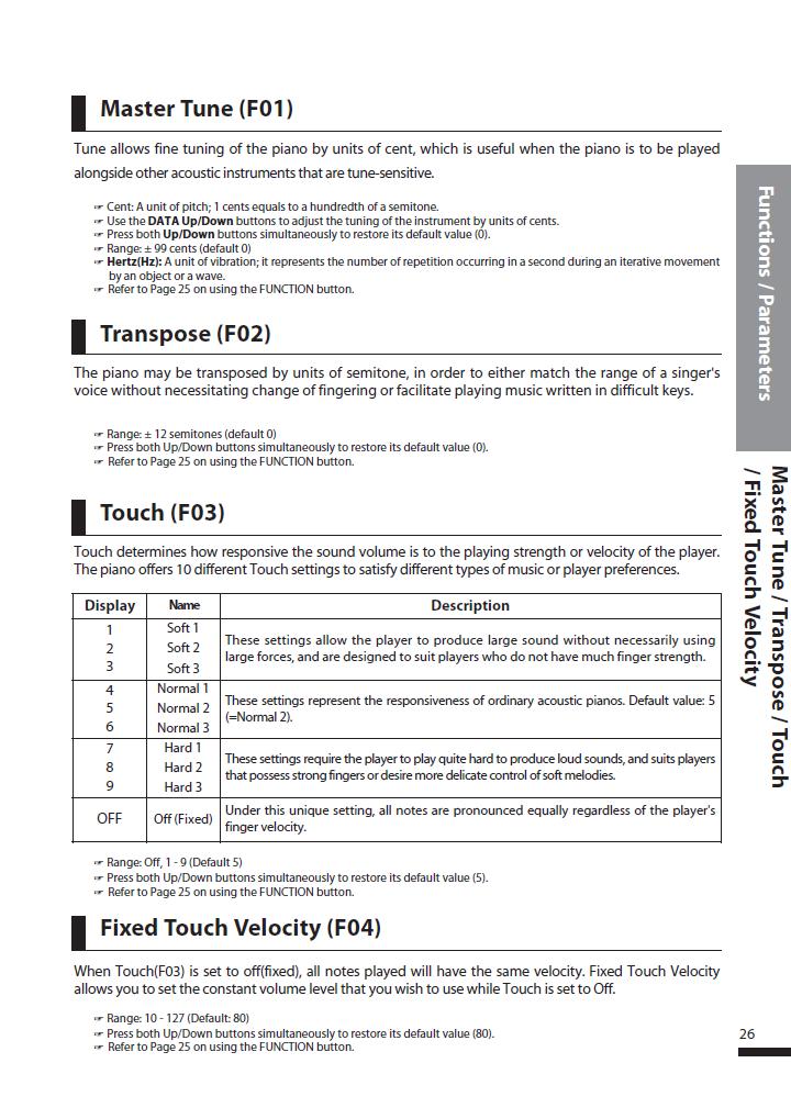 دفترچه راهنمای پیانو دیجیتال دایناتون مدل DPS-90H صفحه 26