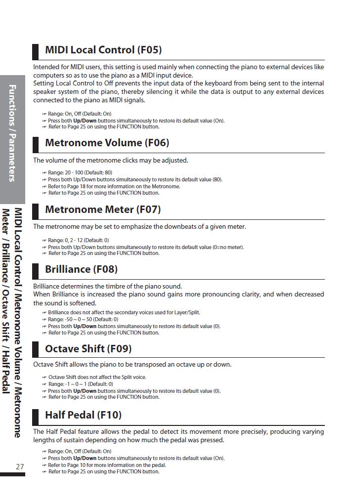 دفترچه راهنمای پیانو دیجیتال دایناتون مدل DPS-90H صفحه 27