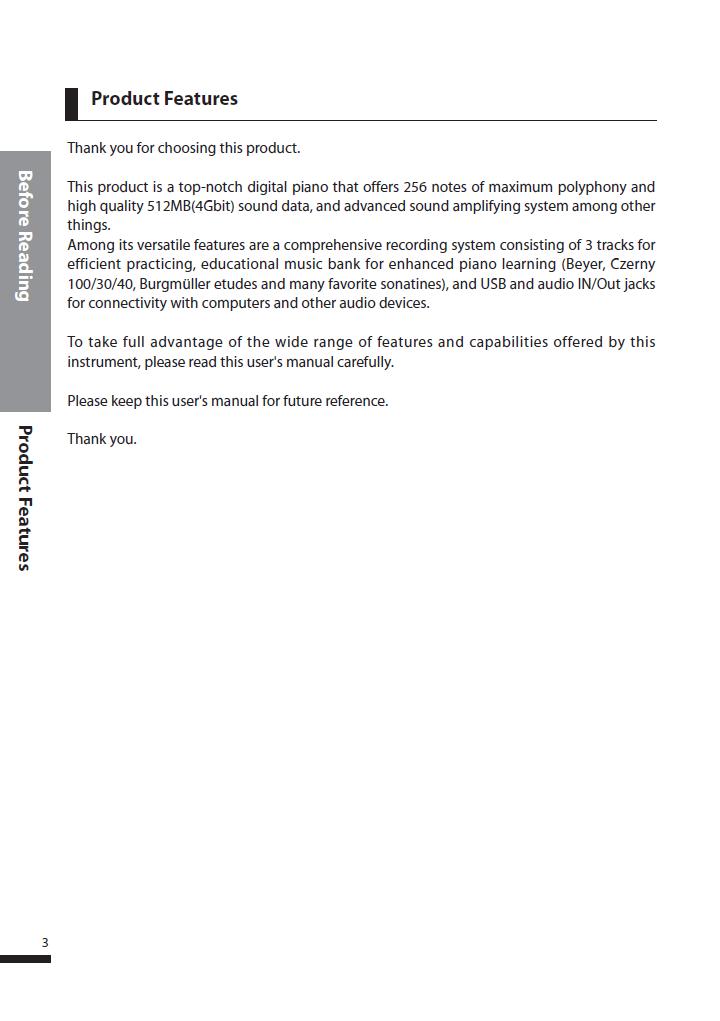 دفترچه راهنمای پیانو دیجیتال دایناتون مدل DPS-90H صفحه 03