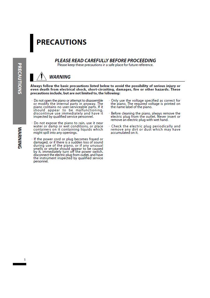 دفترچه راهنمای پیانو دیجیتال دایناتون مدل SLP-150 صفحه01