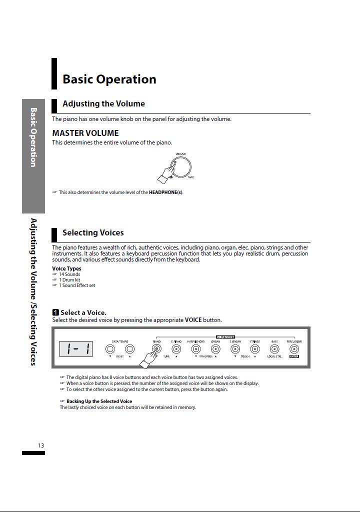 دفترچه راهنمای پیانو دیجیتال دایناتون مدل SLP-150 صفحه13