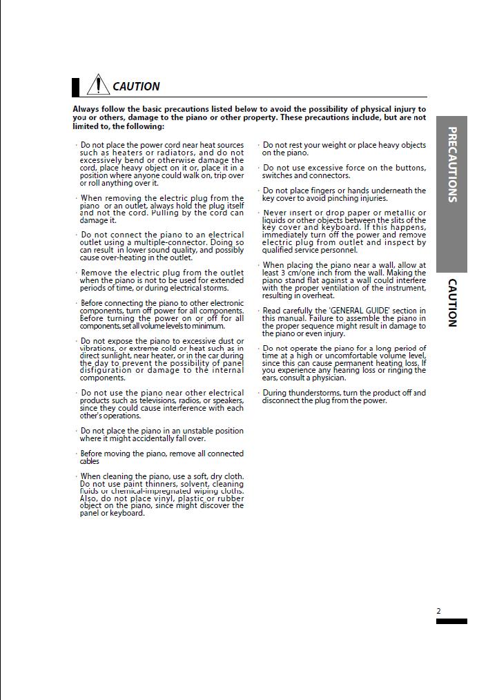 دفترچه راهنمای پیانو دیجیتال دایناتون مدل SLP-150 صفحه02