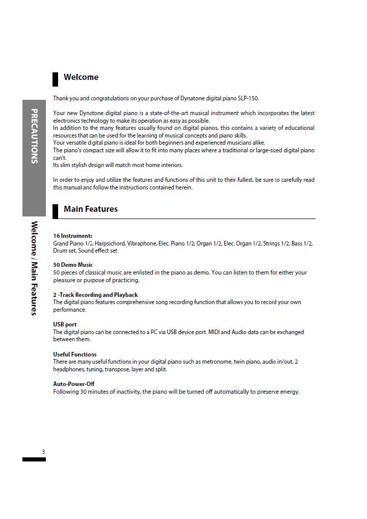 دفترچه راهنمای پیانو دیجیتال دایناتون مدل SLP-150 صفحه03