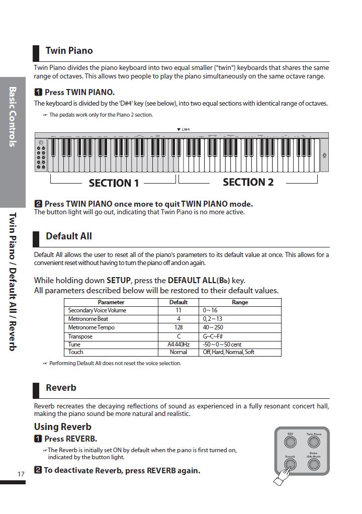 دفترچه راهنمای پیانو دیجیتال دایناتون مدل SLP-250 صفحه 17