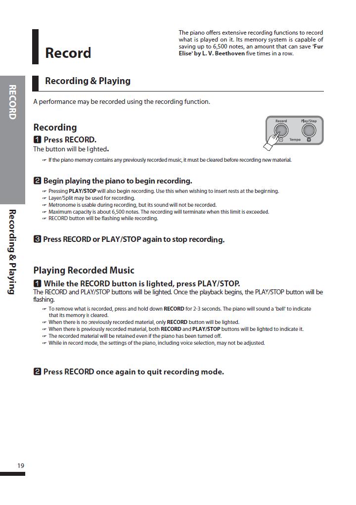 دفترچه راهنمای پیانو دیجیتال دایناتون مدل SLP-250 صفحه 19