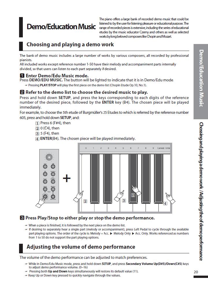 دفترچه راهنمای پیانو دیجیتال دایناتون مدل SLP-250 صفحه 20