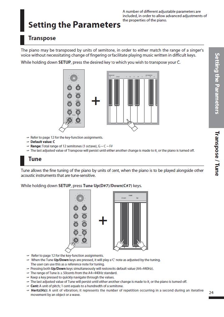 دفترچه راهنمای پیانو دیجیتال دایناتون مدل SLP-250 صفحه 24