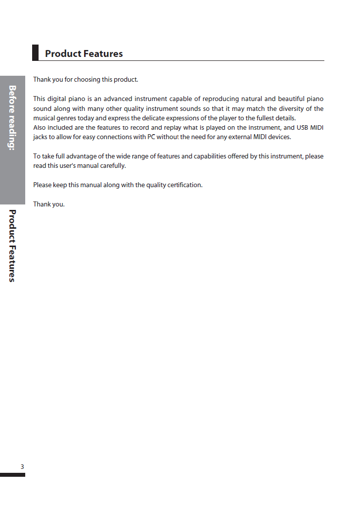 دفترچه راهنمای پیانو دیجیتال دایناتون مدل SLP-250 صفحه 03