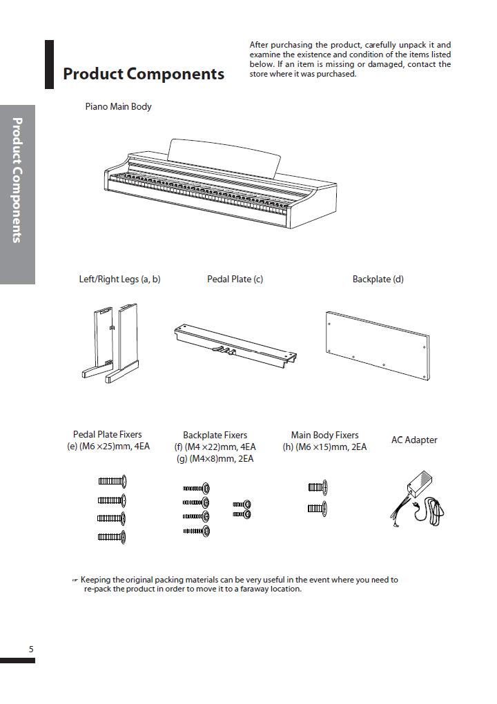 دفترچه راهنمای پیانو دیجیتال دایناتون مدل SLP-250 صفحه 05
