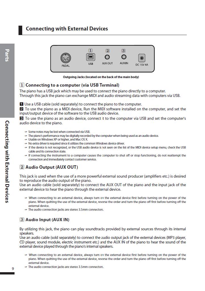 دفترچه راهنمای پیانو دیجیتال دایناتون مدل SLP-250 صفحه 09