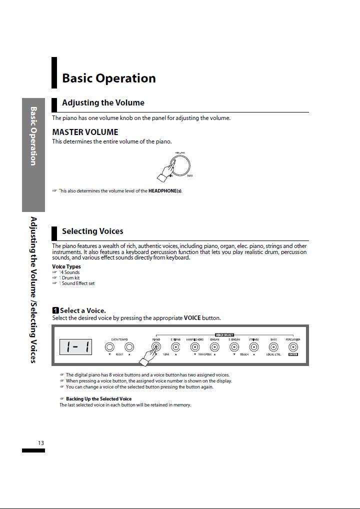 دفترچه راهنمای پیانو دیجیتال دایناتون مدل SLP-50 صفحه 13
