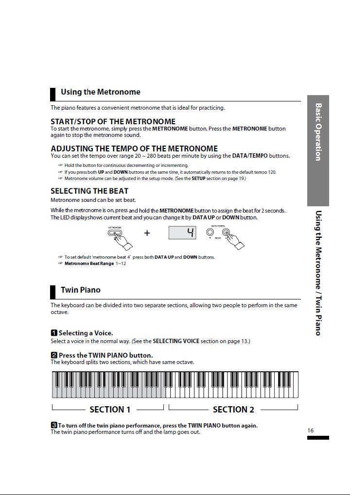 دفترچه راهنمای پیانو دیجیتال دایناتون مدل SLP-50 صفحه 16