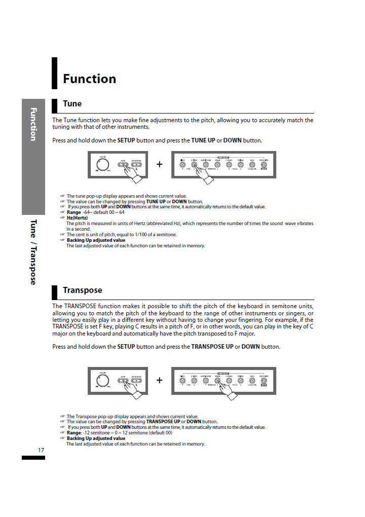 دفترچه راهنمای پیانو دیجیتال دایناتون مدل SLP-50 صفحه 17