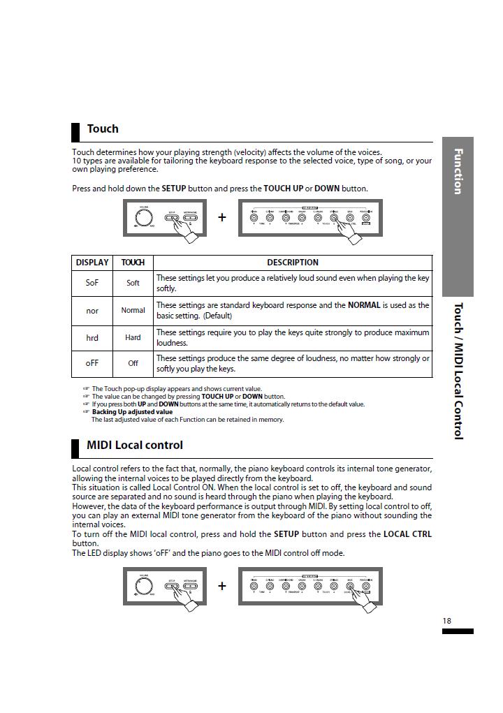 دفترچه راهنمای پیانو دیجیتال دایناتون مدل SLP-50 صفحه 18