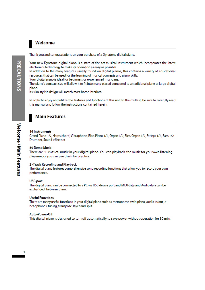 دفترچه راهنمای پیانو دیجیتال دایناتون مدل SLP-50 صفحه 03